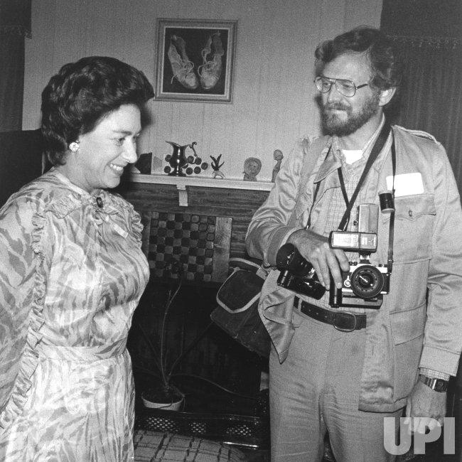 Princess Margaret talks to UPI Photographer Walt Frerck in Houston, Texas