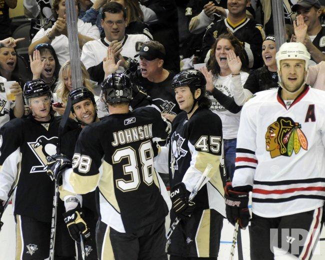 Pittsburgh Penguins goalie Brent Johnson Makes Save against Chicago Blackhawks