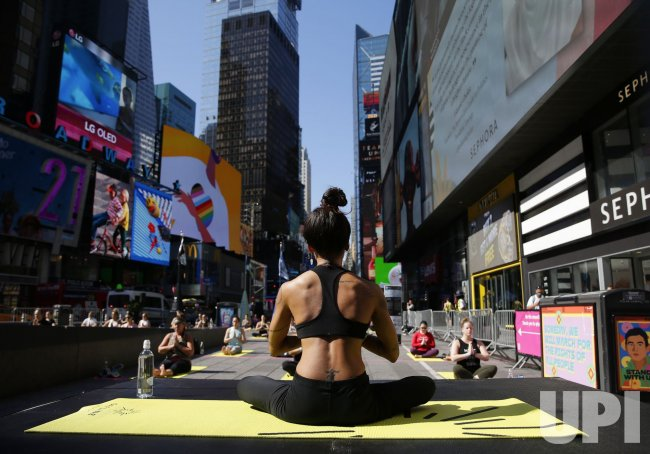 Yoga Solstice in Times Square in New York