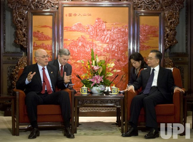 U.S. Treasury Secretary Paulson talks with Chinese Premier Wen during the 5th U.S.-China Economic Dialogue in Beijing