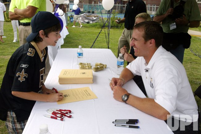 NEW ORLEANS SAINTS QUARTERBACK DREW BREES ATTENDS FUNDRAISER FOR AREA SCHOOLS