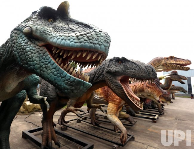 Simulation dinosaurs are on display in Zigong, China