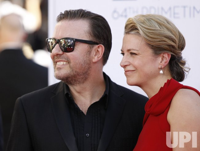 Ricky Gervais and Jane Fallon attend the 64th Primetime Emmy Awards in Los Angeles