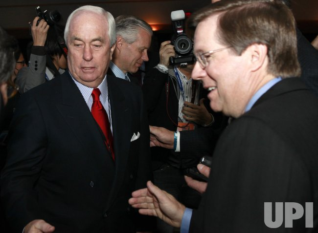 Roger Penske and Toyota's Jim Lentz at the 2010 NAIAS in Detroit, MI.