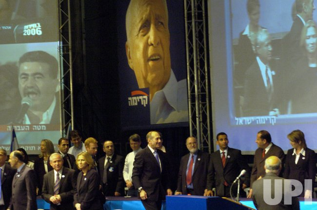 INTERIM PRIME MINISTER EHUD OLMERT SPEAKS AT THE VICTORY OF THE KADIMA PARTY IN THE GENERAL ELECTION