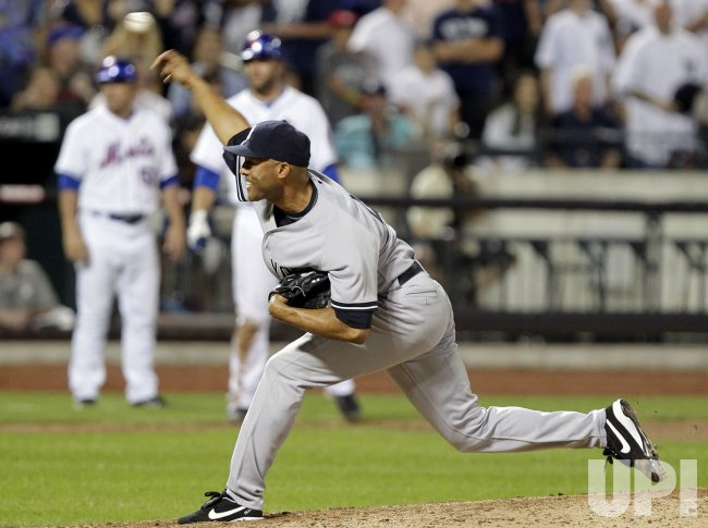 New York Yankees closer Mariano Rivera throws a pitch at Citi Field in New York