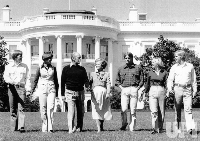 The Ford Family strolling through the grass at the White House