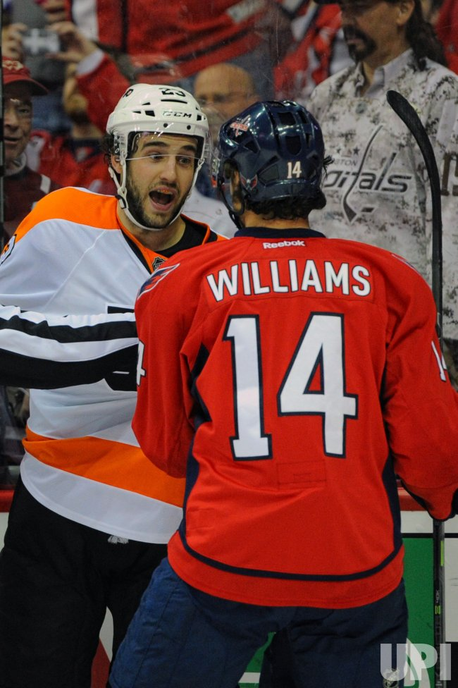 Brandon Manning has Words with Justin Williams