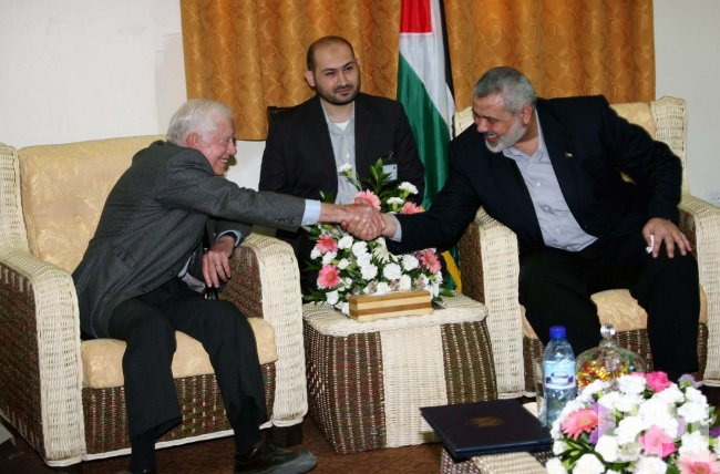 Palestinian Prime Minister Haniyeh meets with former U.S. President Carter in Gaza