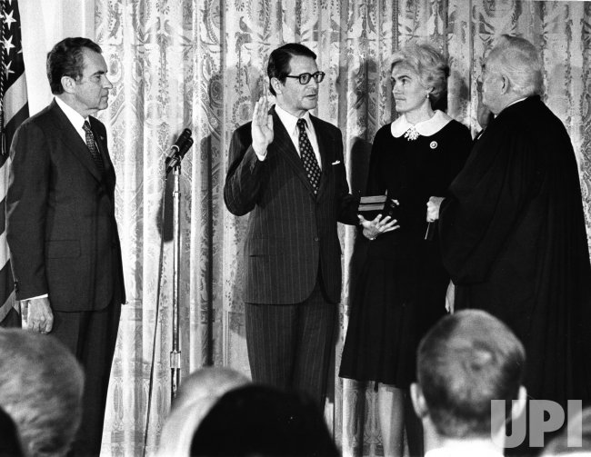Elliot Richardson is sworn in as Pres. Nixon's Attorney General