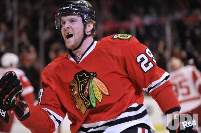 Blackhawks Bickell celebrates goal against Red Wings in Chicago