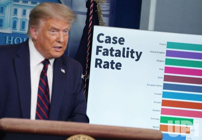 President Donald Trump Speaks in the Brady Press Briefing Room