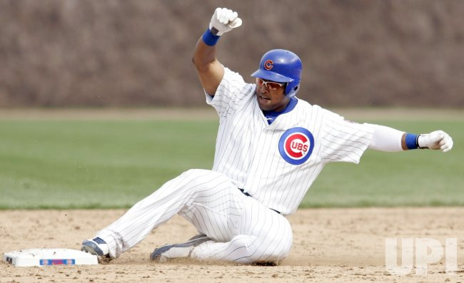 Cubs Byrd Slides Into Second Scoring Teammate Soto Against Brewers