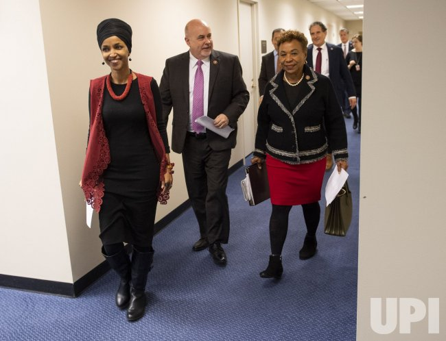 Rep. Omar and others attends a press conference on Iran