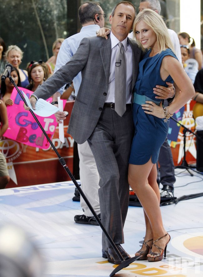Natasha Bedingfield and Matt Lauer on the NBC Today Show in New York