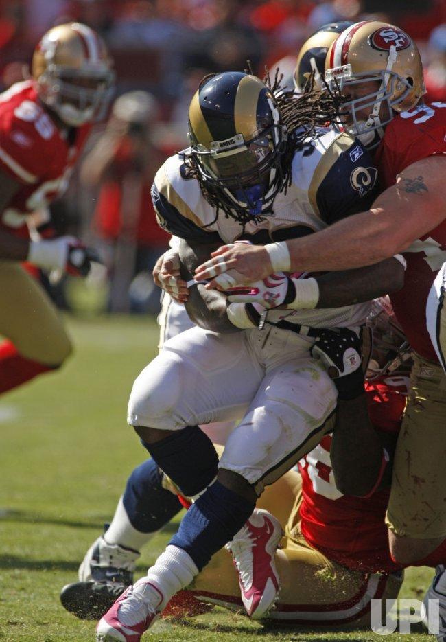 St. Louis Rams RB Steven Jackson runs against the 49ers in San Francisco