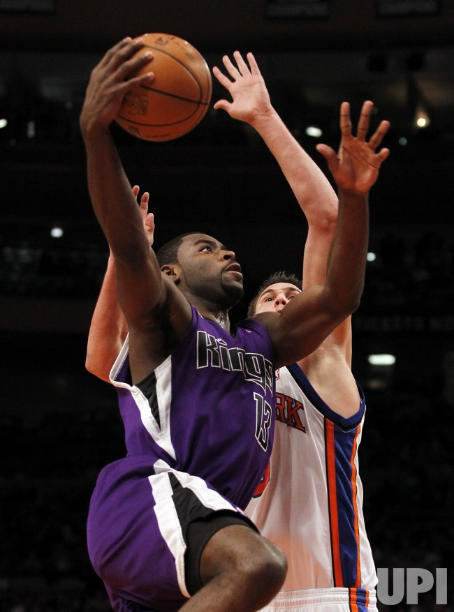 Sacramento Kings Tyreke Evans drives past New York Knicks Danilo Gallinari at Madison Square Garden