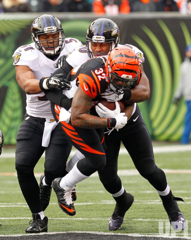 Bengals HB Jeremy Hill runs under pressure