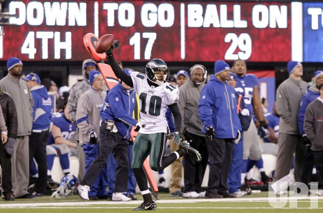 Philadelphia Eagles DeSean Jackson returns a punt 65 yards at New Meadowlands Stadium in New Jersey