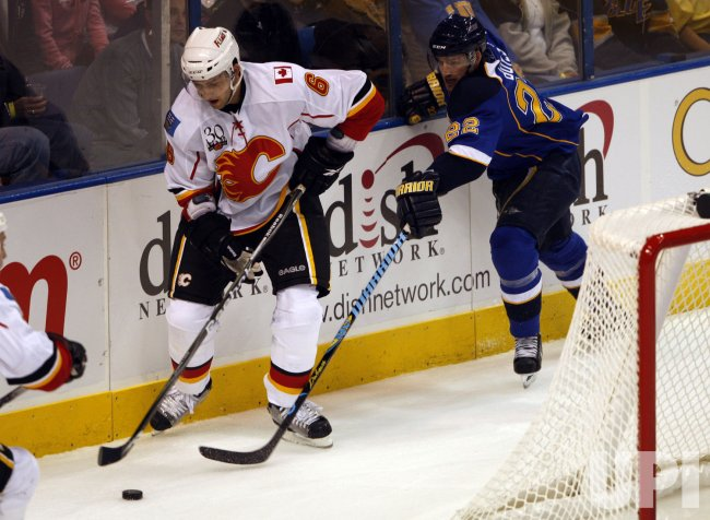 Calgary Flames Cory Sarich and St. Louis Blues Brad Boyes