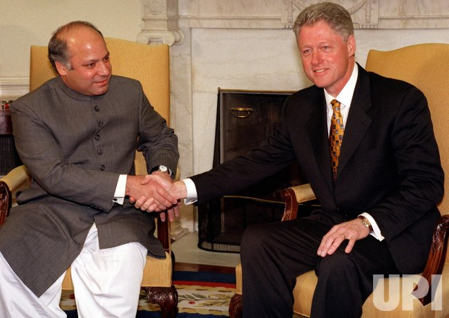 File - Pakistani Prime Minister meets with President Clinton