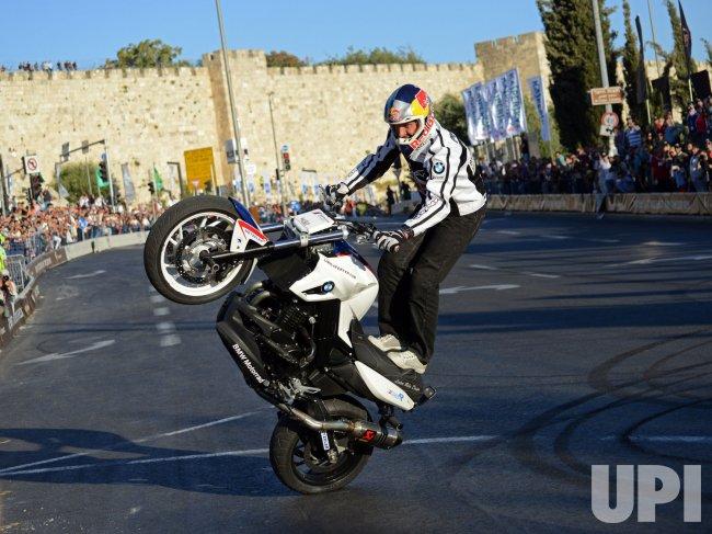 Chris Pfeiffer Performs Motorcycle Stunts, Jerusalem