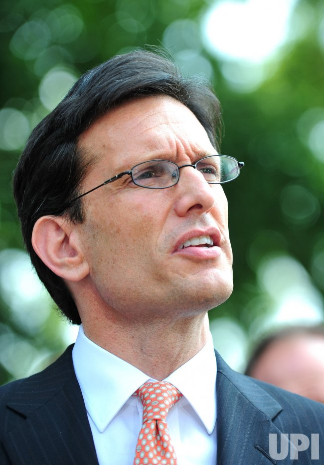House Majority Leader Eric Cantor speaks to the media following a meeting with President Obama in Washington