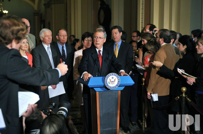 Senate Minority Leader Mitch McConnell (R-KY) speaks to the media in Washington