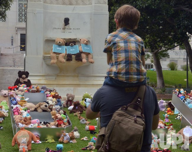 Teddy Bear Display at LA City Hall With Message of Racial Injustice