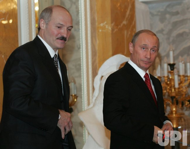 RUSSIAN AND BELARUSIAN PRESIDENTS PUTIN AND LUKASHENKO MEET IN ST PETERSBURG