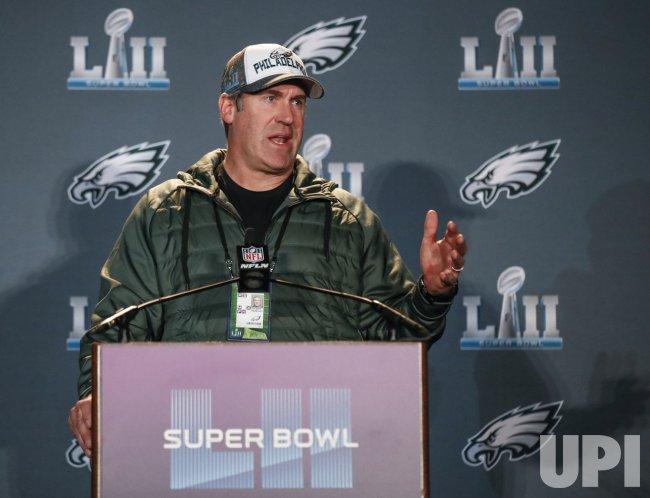 Philadelphia Eagles head coach Doug Pederson speaks in Bloomington
