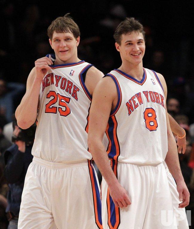 New York Knicks Timofey Mozgov and Danilo Gallinari at Madison Square Garden in New York