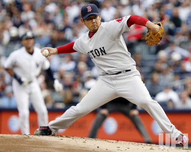 Boston Red Sox starting pitcher Daisuke Matsuzaka throws a pitch in the second inning against the New York Yankees at Yankee Stadium in New York