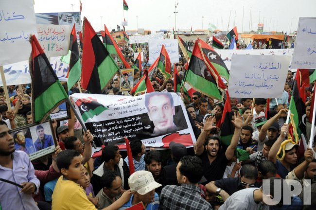 Tribal leaders Demonstration Against Libyan leader Muamer Qadhafi in Benghazi