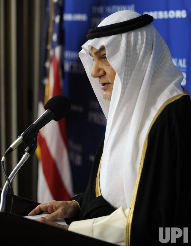 Saudi Prince Turki Al Faisal discusses Middle East issues in Washington