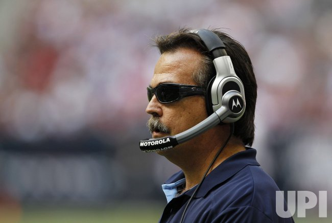 Tennessee Titans Head Coach Jeff Fisher Watches his Team at Reliant Stadium in Houston