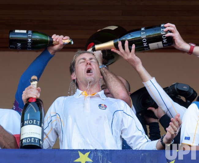 Ian Poulter celebrates winning the Ryder Cup
