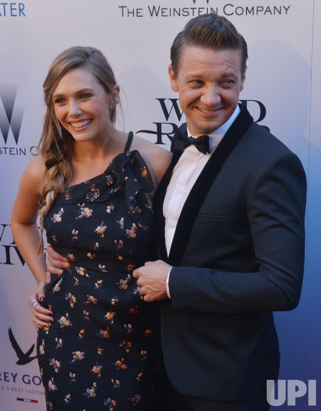 "Elizabeth Olsen and Jeremy Renner attend the ""Wind River"" premiere in Los Angeles"
