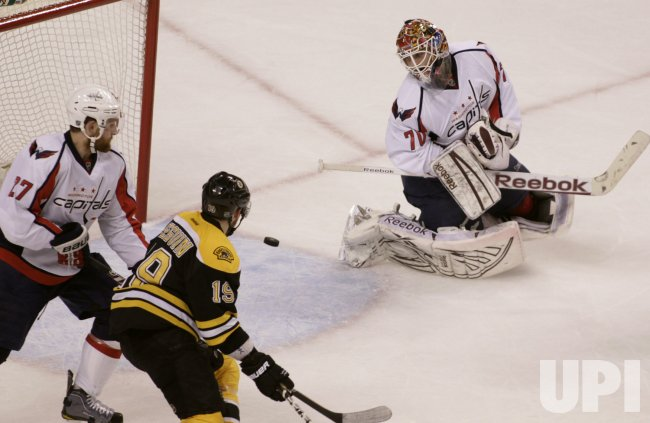 Bruins Seguin chases puck that got by Capitals Holtby in second period at TD Garden in Boston, MA.