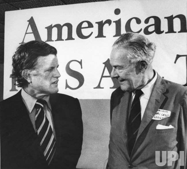 "Sen. Edward M. Kennedy chats with former Ambassador Henry Cabot at an ""Americans for Salt II"" fundraiser"