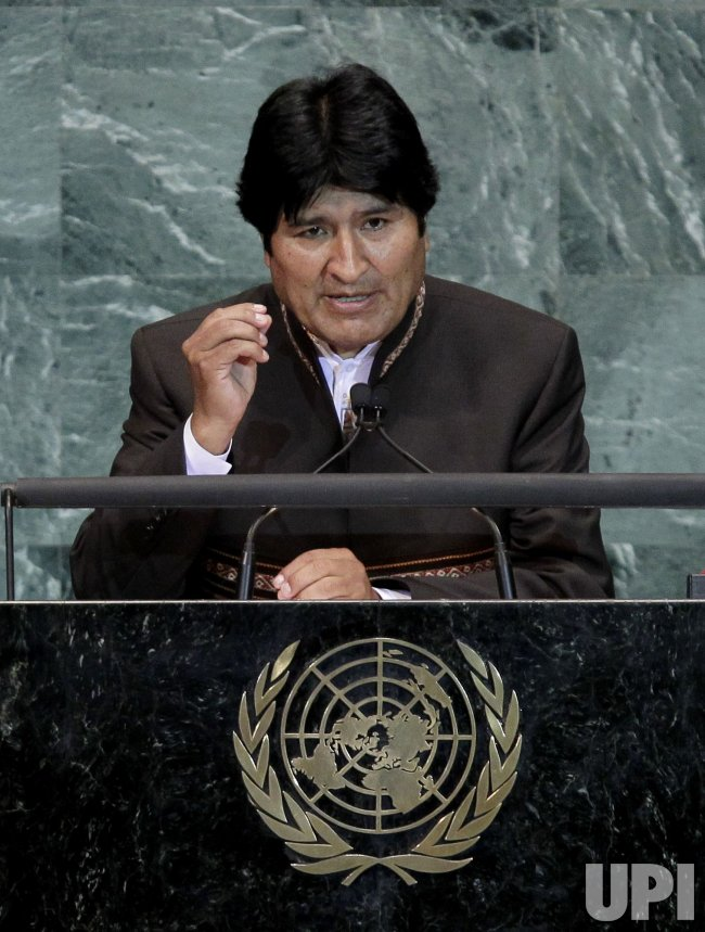 Evo Morales Ayma at the 65th United Nations General Assembly at the UN in New York