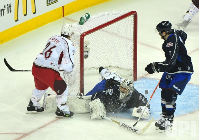 Paul Stastny scores on Marc-Andre Fleury during the 2011 NHL All-Star Game