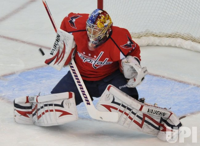 Capitals goalie Varlamov deflects shot from Canadiens during game 7 in Washington
