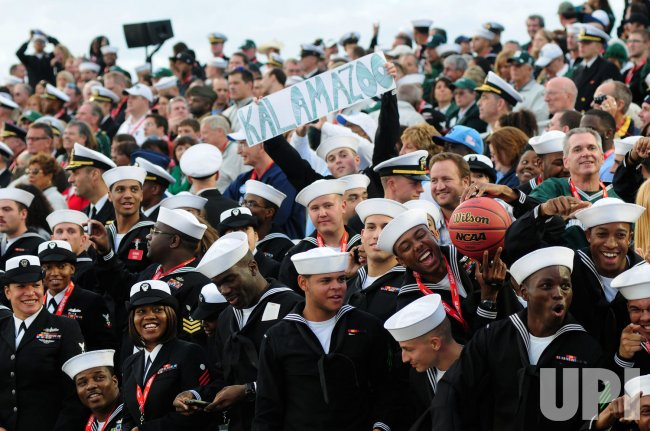 Carrier Classic Basketball Game is Held on Aircraft Carrier in San Diego