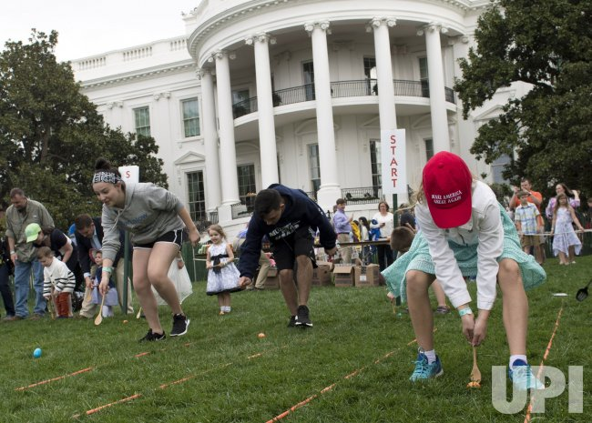 Children participate in the White House Easter Egg Roll in Washington, D.C.