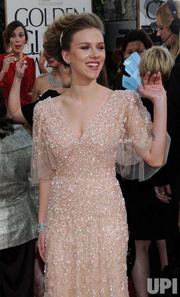 Scarlett Johansson arrives at the 68th annual Golden Globe Awards in Beverly Hills, California