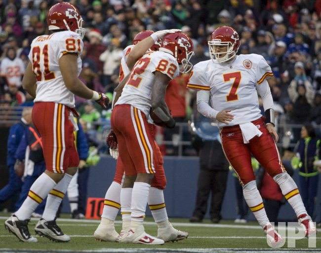 ansas City Chiefs, Tony Moeaki, and quarterback Matt Cassel cerebrates with Dwayne Bowe in Seattle.