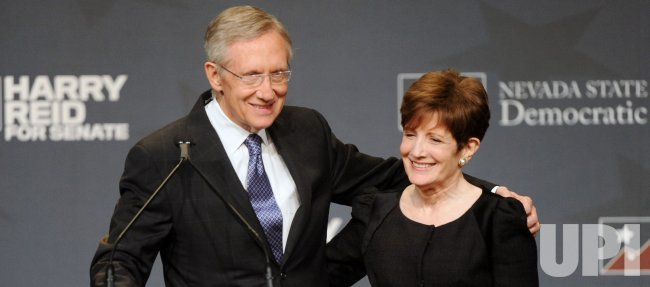 U.S. Senate Majority Leader Harry Reid defeats Sharron Angle to win re-election in Las Vegas, Nevada