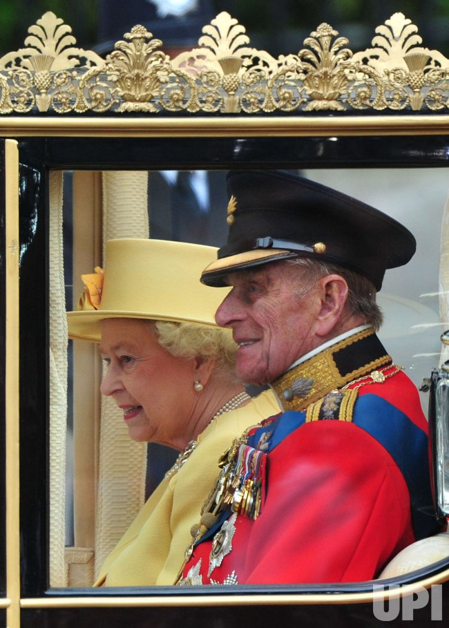 Queen Elizabeth II and the Duke of Edinburgh leave Westminster Abbey in London