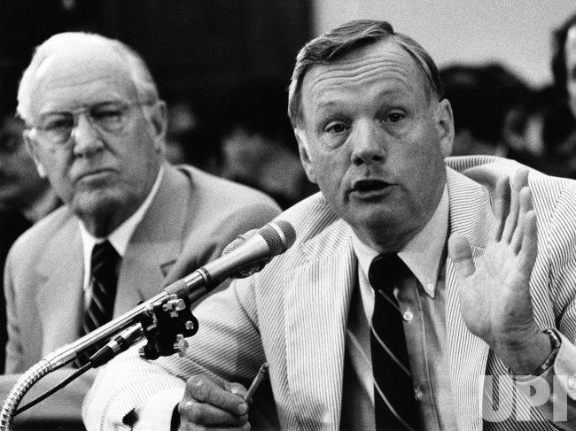 Former astronaut Neil Armstrong testifies before the House Science and technology Committee